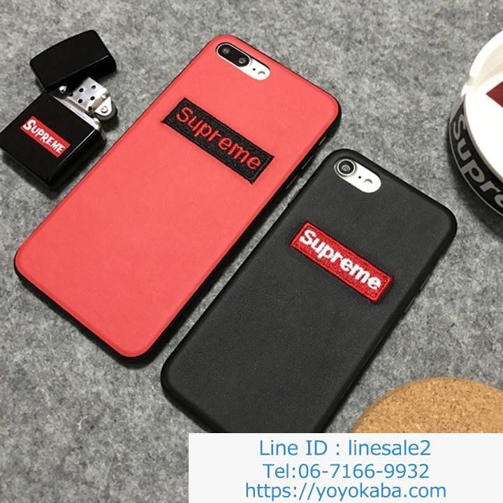 iphoneX携帯カバー 刺繍風 シュプリームブランド